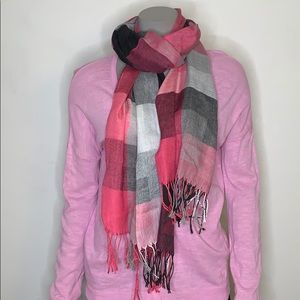 Pink and black plaid scarf